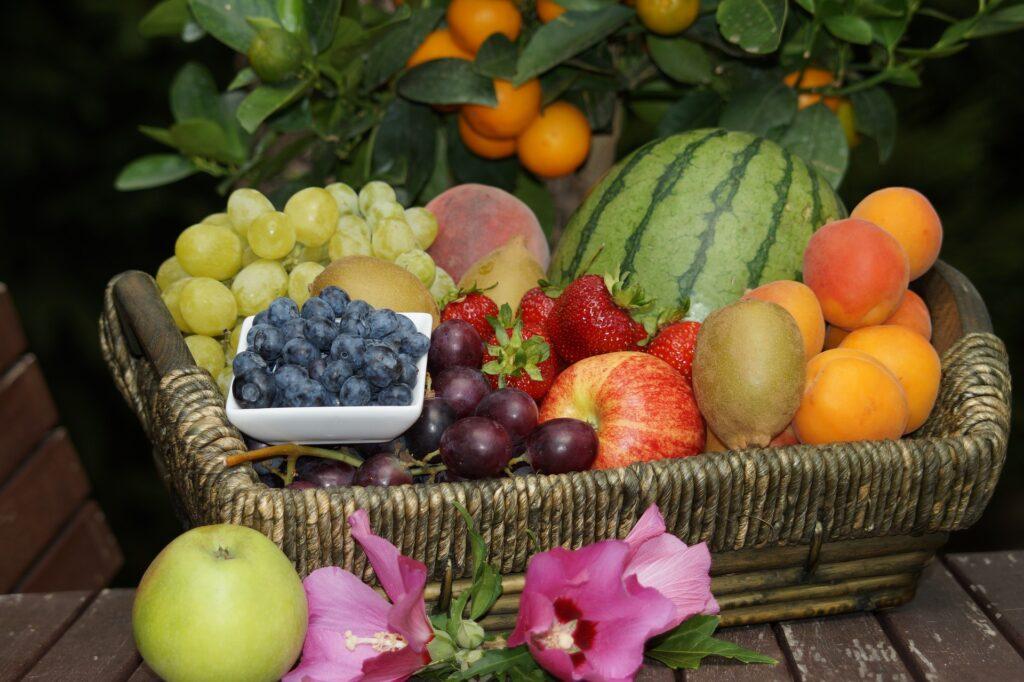 栄養のある果物が並んでいる